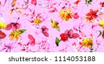 wide seamless background floral ... | Shutterstock .eps vector #1114053188