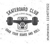 skateboard club badge. vector... | Shutterstock .eps vector #1114073522