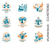 weightlifting theme logotypes... | Shutterstock . vector #1114078382