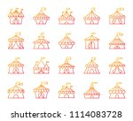 circus tent thin line icons set.... | Shutterstock .eps vector #1114083728