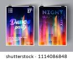 dance party poster vector... | Shutterstock .eps vector #1114086848