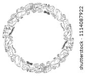 wreath round frame of popular... | Shutterstock .eps vector #1114087922