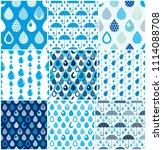 rain drops and umbrellas... | Shutterstock . vector #1114088708