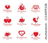 red hearts created with ecg... | Shutterstock . vector #1114099238