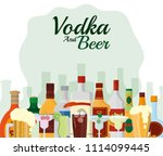 vodka and beer | Shutterstock .eps vector #1114099445