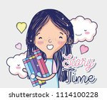 cute girl with books | Shutterstock .eps vector #1114100228
