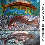 painting of three fish in... | Shutterstock . vector #1114103042