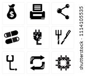 set of 9 simple editable icons... | Shutterstock .eps vector #1114105535