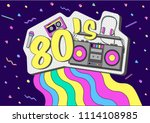 retro music vector poster.... | Shutterstock .eps vector #1114108985