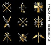vintage weapon emblems set.... | Shutterstock . vector #1114109678