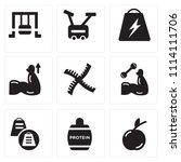 set of 9 simple editable icons... | Shutterstock .eps vector #1114111706