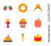 set of 9 simple editable icons... | Shutterstock .eps vector #1114112642