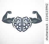 power brain emblem  genius... | Shutterstock . vector #1114115942