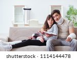 injured family of wife and...   Shutterstock . vector #1114144478