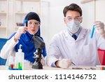 two chemists working in the lab | Shutterstock . vector #1114146752