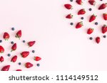 strawberry and blueberry frame... | Shutterstock . vector #1114149512