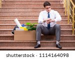 young businessman on the street ... | Shutterstock . vector #1114164098