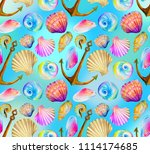 seamless marine pattern with... | Shutterstock . vector #1114174685