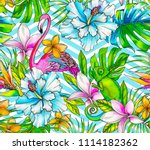 seamless tropical pattern with... | Shutterstock . vector #1114182362