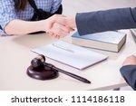 injured employee visiting... | Shutterstock . vector #1114186118