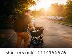 father dad with newborn pram...   Shutterstock . vector #1114195976