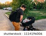 father dad with newborn pram...   Shutterstock . vector #1114196006