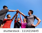 team of asian young adult... | Shutterstock . vector #1114214645