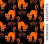 abstract seamless halloween cat ... | Shutterstock . vector #1114249172
