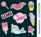 fashion patch badges with... | Shutterstock . vector #1114252238