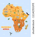 africa. tourist map with famous ...   Shutterstock .eps vector #1114253195
