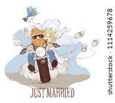 wedding bikers   vector... | Shutterstock .eps vector #1114259678