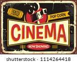 cinema retro tin sign vector...   Shutterstock .eps vector #1114264418