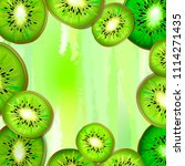kiwi slices on a square... | Shutterstock .eps vector #1114271435