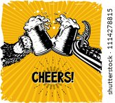 cheers. bear and octopus is... | Shutterstock .eps vector #1114278815