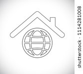 globe under house roof icon | Shutterstock .eps vector #1114281008