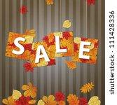 hanging vector sale with autumn ... | Shutterstock .eps vector #111428336