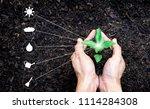 hands holding a plant sapling...   Shutterstock . vector #1114284308