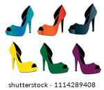 woman shoes isolated | Shutterstock .eps vector #1114289408