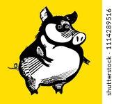 funny pig  cartoon vector... | Shutterstock .eps vector #1114289516