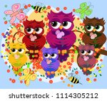 a family of colorful  bright ... | Shutterstock . vector #1114305212