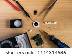 flatlay repair mp3 player on... | Shutterstock . vector #1114314986