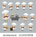 cartoon chef different poses... | Shutterstock .eps vector #1114315058