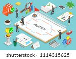 flat isometric concept audit ... | Shutterstock . vector #1114315625