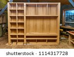 wardrobe made of mdf and oak... | Shutterstock . vector #1114317728