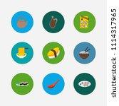 nutrition icons set. unagi...