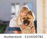 Stock photo beautiful little blonde hair girl has fun smile face embraces and plays with puppy dog dressed 1114320782