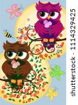 background with a cute owls... | Shutterstock . vector #1114329425