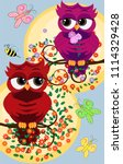 background with a cute owls... | Shutterstock . vector #1114329428