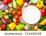fresh organic vegetables on... | Shutterstock . vector #111433145