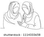 continuous single drawn one... | Shutterstock .eps vector #1114333658